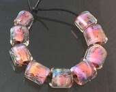 Handmade Lampwork Boro Beads Set of 9 Boro Borosilicate Glass Barrels Rolos Tubes StoneyMarie