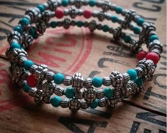Wrap bracelet, bangle, Silver, Turquoise and Red Glass Beads, memory wire, boho gypsy chic style, festies, burners, handmade