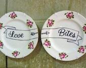 Love Bites hand painted vintage bone china plates recycled humor anti Valentine display decor SALE