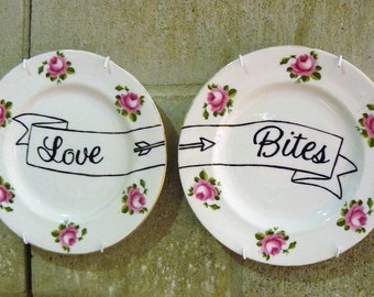 Love Bites hand painted vintage bone china plates recycled humor anti Valentine display decor SALE
