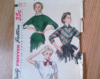 Vintage 1950s Pattern Blouse Simplicity 4010 New Look Princess Fitted Tailored 2015461