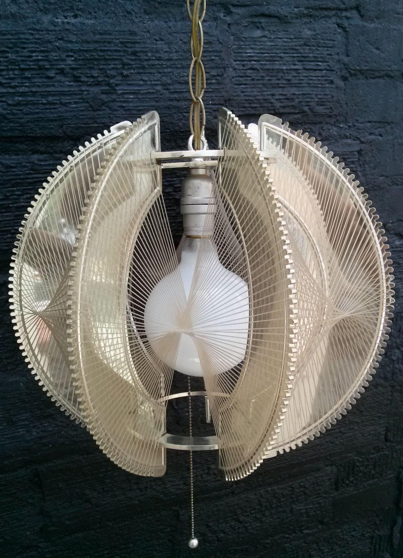 Vintage 1970s Ceiling Light 70s Lucite String Swag Hanging