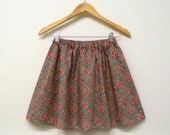 Summer mini skirt floral rose print english vintage rose shabby chic grey red flowers