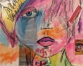 Melody, mixed media art, fine art illustration, abstract watercolor art, fashion art, mixed media fashion, fashion art collage