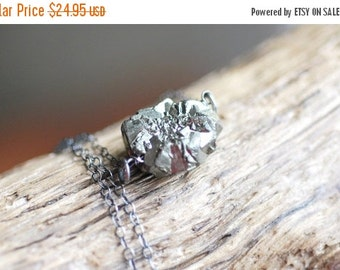 ON SALE Pyrite Nugget Necklace Sterling Silver Rough Nugget Necklace Black Gold Necklace Dark Metal Necklace Organic Necklace Modern Necklac