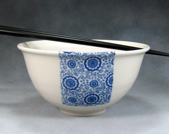Blue and White Noodle Bowl, Rice Bowl, Soup Bowl, Pho Bowl, Stir Fry Bowl Hand Thrown Translucent Porcelain Pottery 54