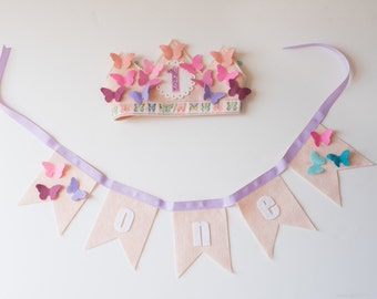 PARTY PACK Ombre Butterfly Birthday Crown & Bunting - Pinks Purples Blues - Felt Birthday Crown for Girls- Smash Cake- Photo Prop