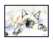 Watercolor Blue-Eyed Siamese Cat Note Cards, Notecards, Siamese Cat Prints, Siamese Cat Stationery, Gift Box, Cat Lovers, Stocking Stuffers