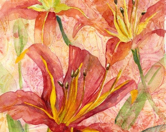 Watercolor Orange Tiger Lilies Original Painting, Lily Art, Lily Decor