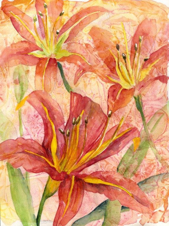 Watercolor Orange Tiger Lilies Original Painting, Lily Art, Lily Decor