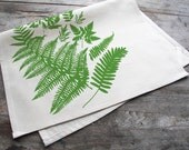 Hand-Printed Forest Ferns Cotton Tea Towel with hanging loop, made in the USA