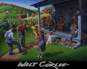 Original Oil Painting Porch Music and Flatfoot Dancing, Mountain Music, Appalachian Traditions, Appalachia Farm Landscape, Folk Art