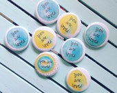 you are loved - blessing buttons in blues, green, and yellow - set of 30