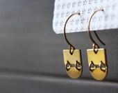 Brass earrings geometric earrings gold drop earrings half moon earrings minimalist jewelry small dangle earrings for women - Dylan Earrings