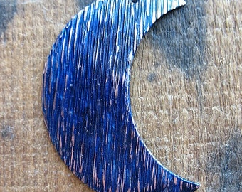 Striated Copper Crescent Moon Pendant in Indigo