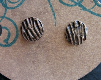Fine Silver Post Earrings with Wood Grain Texture