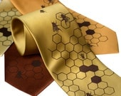 "Honeybee Necktie. Silkscreened Bee Hive men's necktie, ""Oh Honey"", chocolate brown ink. Mustard yellow, gold, cinnamon microfiber & more."