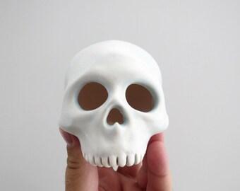 Pastel Blue Human Skull Votive Tea Light Luminary Lantern Candle Holder