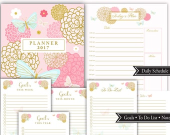 2017 Chrysanthemums Planner 8.5 x 11 letter size, monthly calendar, goals, to do lists, Weekly Schedule, Instant Download