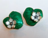 David Andersen, Lilypad Green Enamel Earrings. Sterling 925s signed Norway DA