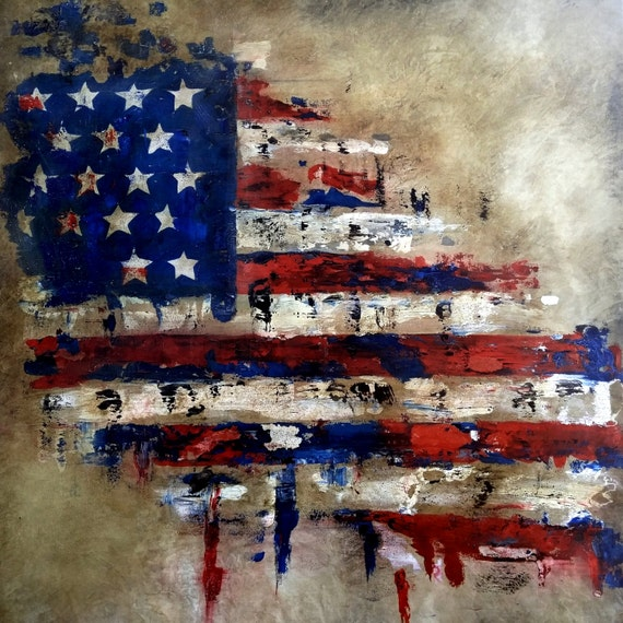 Abstract Oil Painting American Flag
