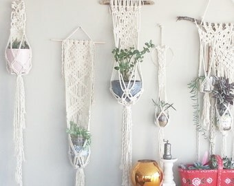 Shabby Chic Hanging Planter- Wall Accent- Bohemian Decor- Dorm Decor~ Planter~ Modern Macrame- White Wall Accent- Boho Home Decor-  BohoChic