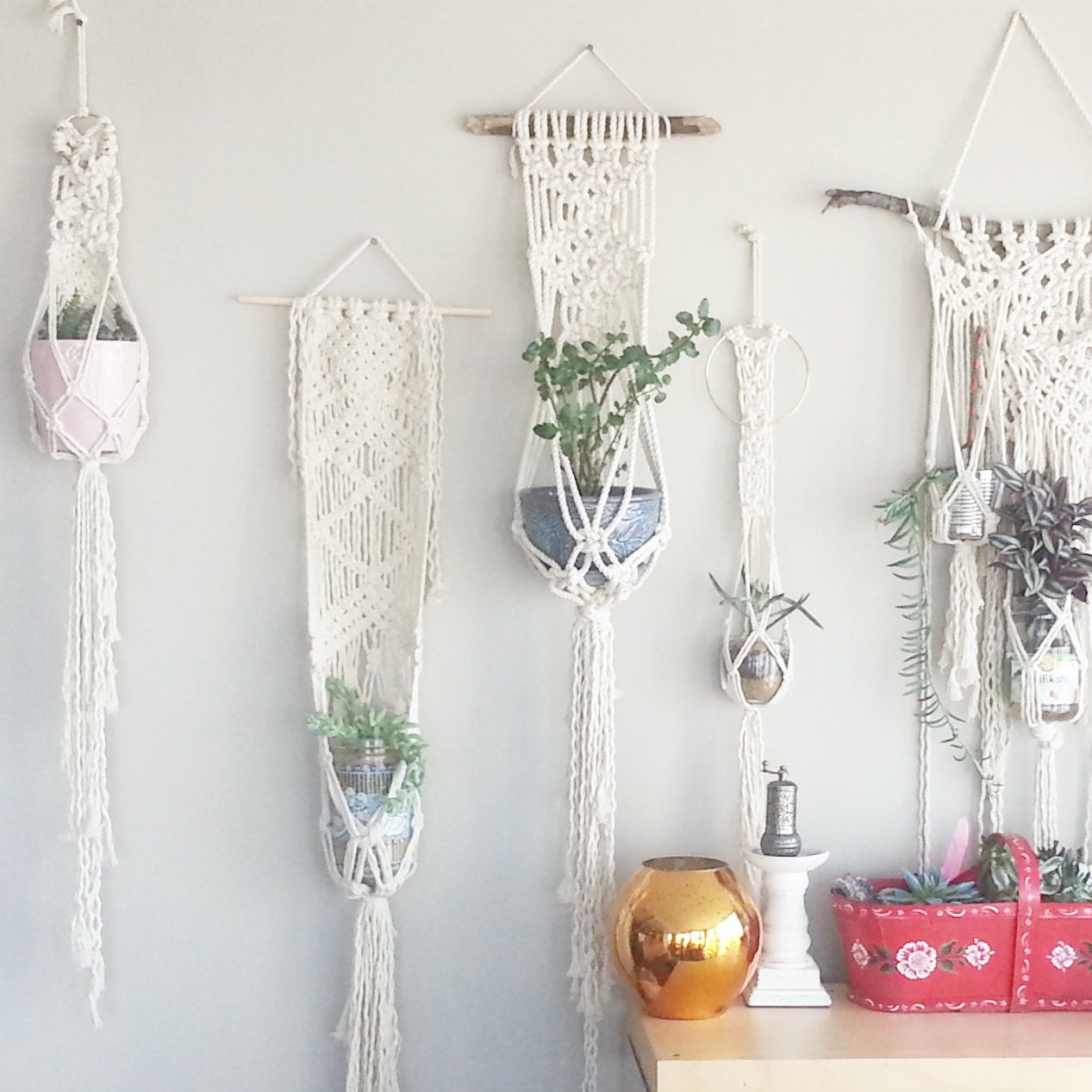 Shabby Chic Hanging Planter Wall Accent Bohemian Decor Dorm