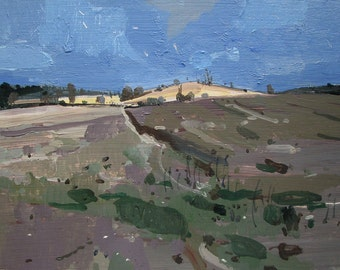 Secret Field, Original Winter Landscape Painting on Panel, Stooshinoff