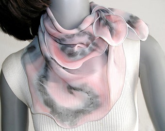 Rose Quartz Scarf, Small Square Scarf, Neck Gray Pink Scarf, One of a Kind, Hand Painted Chiffon, Unique Hand Dyed, Handmade, Jossiani.
