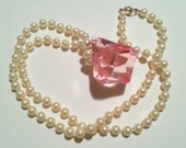 Sweet Lolita Chunky Upcycled Pearl Necklace with Massive Pink Plastic Gem