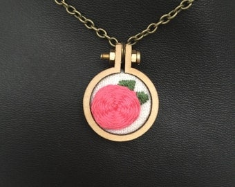 """Fluffy Cabbage Rose with Leaves 1"""" Embroidered Hoop Necklace with Chain"""