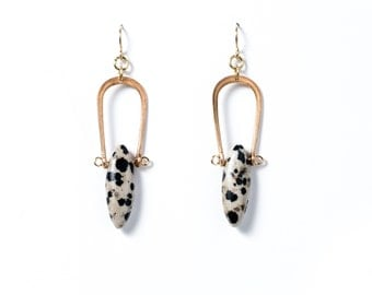 Dalmatian Jasper Marquise Earrings
