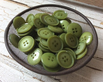"""Avocado Green Button, Vintage Green Buttons,Set of 10, New Old Stock, 7/8"""" in Diameter"""