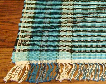 "Rag Rug ""Turquoise and Black Zig and Zag"""