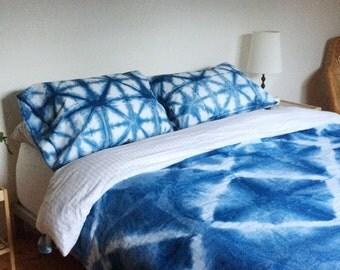 Indigo Shibori Dyed Cotton Pillow Cases in Starburst, Anna Joyce