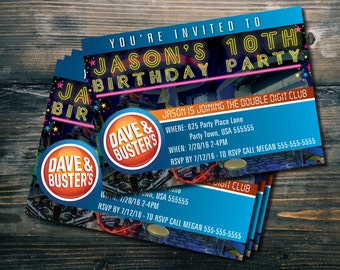 Custom 5 x 7 Dave & Busters Party Invites