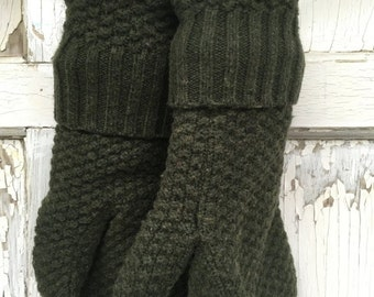 35% OFF CRAZY SALE- Wool Blend Mittens- Simple Elegance-Dark Green