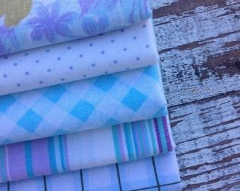 40% OFF FLASH SALE- Fat Quarter Bundle-Blue and Purple-Reclaimed Bed Linen fabric