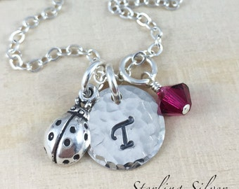 Sterling Silver Petite Ladybug Charm Necklace, Hand Stamped Initial Jewelry, Personalized Ladybug Charm Necklace, Ladybug Gift, Personalized