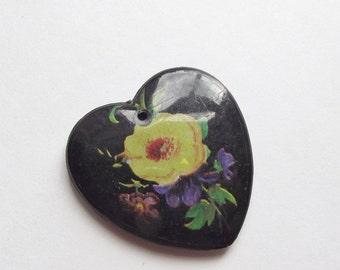 ON SALE Vintage black plastic heart pendant
