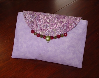 Clutch hand bag purse purple green lavender MOB purse paisley print w. beads