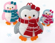 Felt Penguin Tutorial - DIY Embellishment or Ornament - PDF File - 3 Sizes - Instant Download