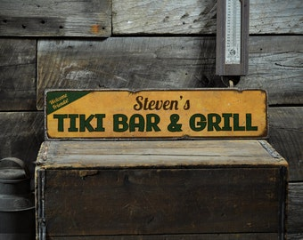 Tiki Bar Sign, Custom Tiki Sign, Tiki Decor, Wood Tiki Sign, Tiki Bar Decor, Beach Bar Sign, Rustic Hand Made Vintage Wooden Sign ENS1001204