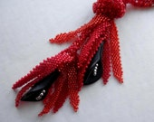 Necklace Half-Price Sale Tubular Bead Netting Lariat Red Black Lilies