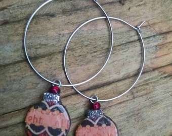 christmas cheer...earrings...festive ornament hoops