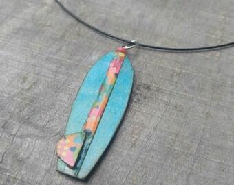 wearables...necklace...funky surfboard azure