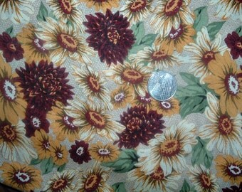 Quilt Fabric Destash Daisies and Mums Fall Color by the Half Yard