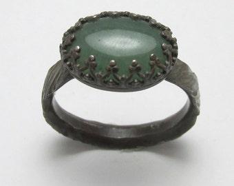 Aventurine 5.40 carats Twisted Treebark finish ring Oxidized Sterling Silver gemstone Size 11