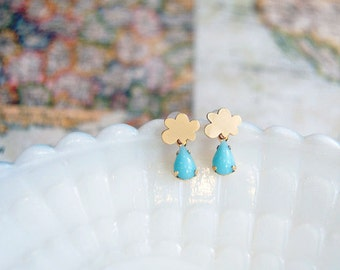 Rainy days cloud and vintage teardrop post earring- gold plate- sky blue glass