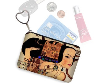 Small Zipper Pouch Coin Purse Keychain Key Fob Business Card Holder Fabric Purse Organizer Art Nouveau Gustav Klimt Expectation  RTS